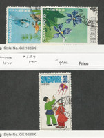 Singapore, Postage Stamp, #113, 115, 139 Used, 1970-71 Flower, Fish, Kite