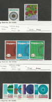 Singapore, Postage Stamp, #195, 198 Hinged, 212-214, 232-235 Mint LH, 1973-5