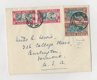 South Africa , Postage Stamp, #79-80 Pairs VF Cover To Burlington Vermont