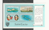 St. Lucia, Postage Stamp, #586a Sheet Mint NH, 1982 Map, Ship