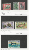 St. Vincent, Postage Stamp, #176-7, 179, 416, 419, 425 Used, 1951-75 Fish