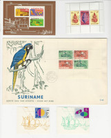 Suriname, Postage Stamp, #509, C28-9 Mint NH Sheets, B223a Used, B118a FDC