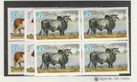 Zambia, Postage Stamp, #419-421 Blocks Mint NH, 1987 Cow