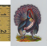 Victorian Card, 1890's, Animals Diecut, Peacock With Medal (A11)