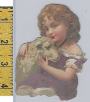 Victorian Card, 1890's, Animals Diecut, Girl Holding Sheep (A16)