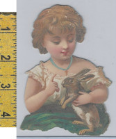 Victorian Card, 1890's, Animals Diecut, Girl Holding Rabbit (A17)