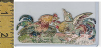 Victorian Card, 1890's, Animals Diecut, Cock Fight, Chicken (A18)