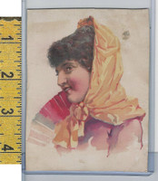 Victorian Card, 1890's, Culture & People, Girl in Red Dress (A115)