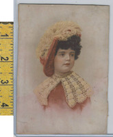 Victorian Card, 1890's, Culture & People, Girl in Red Dress (A118)