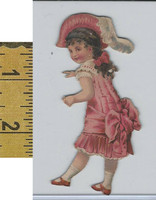 Victorian Card, 1890's, Girls, Child Red Dress Cutout (A5)