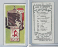 A0-0 Amalgamated, Makes of Motor Cars, 1923, #26 Rolls Royce