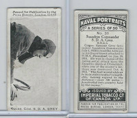 C23 Imperial Tobacco, Naval Portraits, 1915, #30 SDA Grey, Aviator