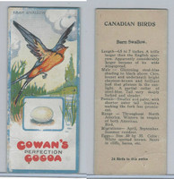 V9 Cowan, Canadian Bird Cards, 1920's, Barn Swallow