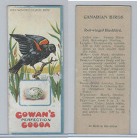 V9 Cowan, Canadian Bird Cards, 1920's, Red-Winged Black Bird