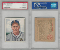 1950 Bowman Baseball, #213 Carl Scheib, Philadelphia Athletics, PSA 7 NM