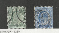 Straits Settlements, Postage Stamp, #105, 108 Used, 1903