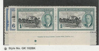 Turks & Caicos, Postage Stamp, #110, 112-113 Mint NH Pairs, 1950