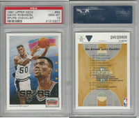 1991 Upper Deck Basketball, #94 David Robinson, Spurs, PSA 10 Gem