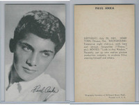 1950's Exhibit, Male Music Artists BIO Back, Paul Anka, ZQL