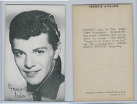 1950's Exhibit, Male Music Artists BIO Back, Frankie Avalon, ZQL