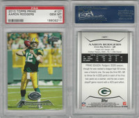 2010 Topps Prime Football, #127 Aaron Rodgers, Packers, PSA 10 Gem
