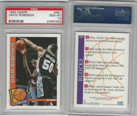 1992 Hoops Basketball, #481 David Robinson, Spurs, PSA 10 Gem