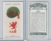 H44-35 Hignett, International Caps & Badges, 1924, #22 Wales Ass. Football