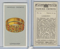 P50-103 Phillips, Famous Crowns, 1938 Royalty, #14 Lombardy