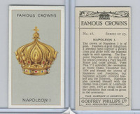 P50-103 Phillips, Famous Crowns, 1938 Royalty, #18 Napoleon I, France