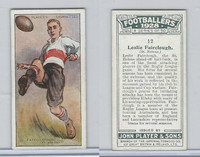P72-100 Player, Footballers 1928, #12 Leslie Fairclough, St. Helens