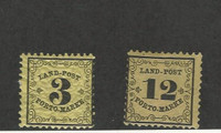 Baden (Germany), Postage Stamp, #LJ2-LJ3 Mint Hinged, 1862