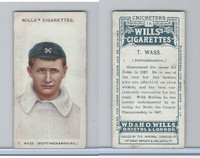 W62-76 Wills, Cricketers, 1908, #18 T. Wass, Nottinghamshire