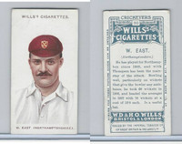 W62-76 Wills, Cricketers, 1908, #30 W. East, Northamptonshire