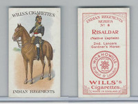 W62-417 Wills, Indian Regiments, 1912, #8 Risaldar, Native Captain 2nd Lancers