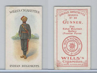 W62-417 Wills, Indian Regiments, 1912, #16 Gunner, 21st Kohat Mountain