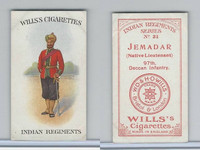 W62-417 Wills, Indian Regiments, 1912, #31 Jemadar, 97th Deccan Infantry
