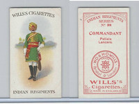W62-417 Wills, Indian Regiments, 1912, #38 Commandant, Patiala Lancers
