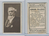 W62-425 Wills Tobacco, Rulers of the World, 1912, Armand Fallieres, France