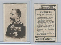 W62-425 Wills Tobacco, Rulers of the World, 1912, Charles King Roumania