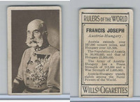 W62-425 Wills Tobacco, Rulers of the World, 1912, Francis Joseph, Austria