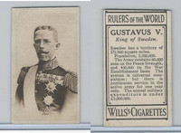 W62-425 Wills Tobacco, Rulers of the World, 1912, Gustavus V King Sweden