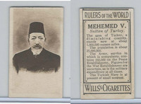 W62-425 Wills Tobacco, Rulers of the World, 1912, Mehemed V Sultan Turkey