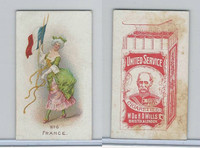 W62-356 Wills Tobacco, Flag Girls of All Nations, 1908, #6 France