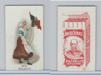 W62-356 Wills Tobacco, Flag Girls of All Nations, 1908, #10 Belgium
