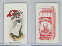 W62-356 Wills Tobacco, Flag Girls of All Nations, 1908, #14 Switzerland