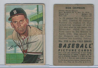 1952 Bowman Baseball, #228 Bob Chipman, Braves, WMX