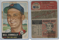 1953 Topps Baseball, #126 Bill Connelly, Giants, WMX