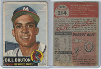1953 Topps Baseball, #214 Bill Bruton, Braves, WMX