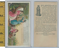 Victorian Card, 1890's, Ayers Medicine, Lowell Mass, Girls, Feeding Dog