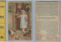 Victorian Card, 1890's, Boschees Medicine, Girls Feeding Chickens